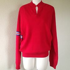 MAKE OFFER Bobby Jones Red Cotton Cashmere Sweater M Open Mock Neck NWT $185
