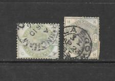1883 Queen Victoria SG195 9d. Green and SG196 1s. Green Used GREAT BRITAIN