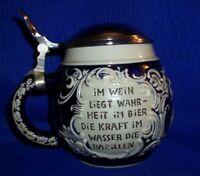 """Vintage German Stein With Verse """"In Wine Lies Truth"""""""