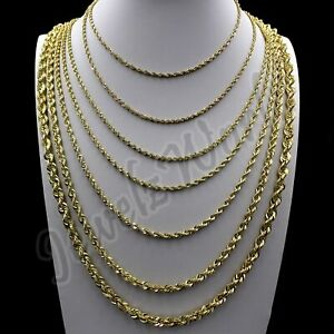 """10K Solid Yellow Gold 2mm-6mm Diamond Cut Rope Chain Necklace Bracelet 16""""- 30"""""""