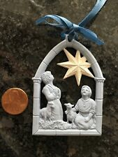 Vintage Wedgwood Blue White Jasperware Christmas Ornament Shepard Star Lovely!