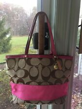 COACH 10124 Khaki Pink Stripe Signature Canvas Reversible Tote Bag w/Dust Cover