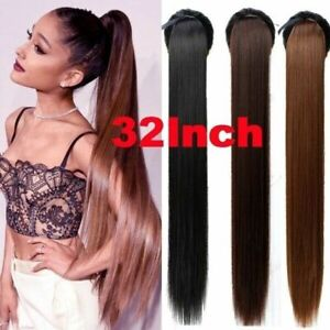 """Clip In as Synthetic Hair Extensions Pony Tail Straight 32"""" /85CM Cosplay"""