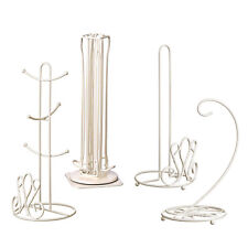 4pc Set Cream Metal Kitchen Roll Mug Tree Coffee Pod Holder Stand Banana Hanger