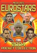 MERLIN'S FOOTBALL EUROSTARS 2004 POCKET STICKER COLLECTION. FULL SET ALBUM, BOX+