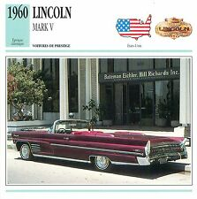 Lincoln Continental Mark V V8 CABRIOLET 1960 USA CAR VOITURE CARTE CARD FICHE