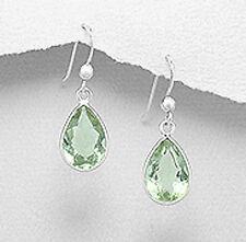 Solid Sterling Silver 28mm Gorgeous Green Amethyst Teardrop Dangle Earrings 2g