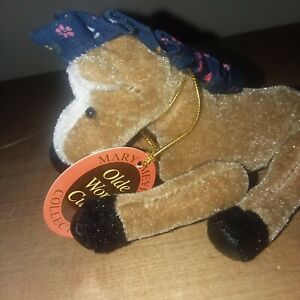 Miniature Plush Horse Mary Meyer Olde World Curios Plastic Display Case Brown