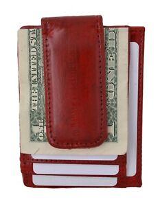 Eel Skin Leather Magnetic Money Clip Slim Credit Card Id Holder Red Men's Wallet