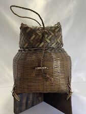 * Unique Hand Made Vintage Japanese Covered Woven Fishing Creel / Basket Wood