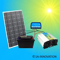 Komplett 220V Solar Set Steckdose 100Ah Akku Batterie 100 Watt Inselanlage 1000W