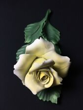 Capodimonte yellow rose stem porcelain handmade Italy flower ornament
