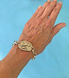 Early, Heavy Jes Maharry Chunky Silver Chain Bracelet w Peace Doves Large Charm