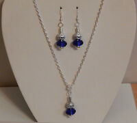 SILVER PLATED NECKLACE WITH BLUE OR BLACK BEAD  PENDANT AND EARRING SET GIFT