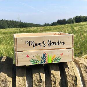 Personalised Wooden Flower Garden Planter Crate Box For Mum Birthday Gift Idea