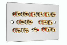 7.1 Speaker  AV Audio Wall Face Plate - Polished Chrome - NO SOLDERING REQUIRED