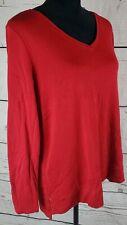 J Jill Large Shirt Pima Cotton Tunic Tee V Neck Long Sleeve Red Casual Top