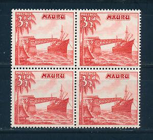 NAURU 1954 DEFINITIVES SG50a 3½d vermillion BLOCK OF 4 MNH
