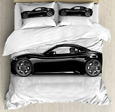 Cars Queen Size Duvet Cover Set Sports Car in Black Color with 2 Pillow Shams