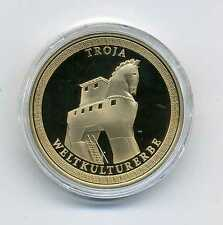 Medaille Troja Weltkulturerbe vergoldet  Türkische Ägäis Top M_349