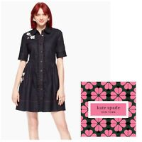 KATE SPADE NWT Women's Size 8 Embroidered Dark Denim Shirtdress