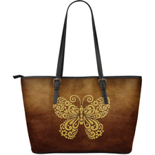 Brown Awesome Butterfly Large Leather Tote Bag