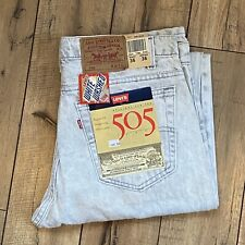 Vintage 80's Levi's 505 White Washed Denim Jeans New, Tag 36x36 Actual 34x35 USA