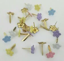Flower Brads Scrapbooking Embellishments 5 Pastel Clrs Lot of 25 Crafts Stamping