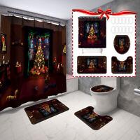 4tlg Weihnachten Thema Duschvorhang Badematte WC Deckel Badezimmer Badvorleger