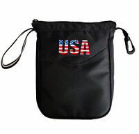 Golf Valuables Pouch Bag Tees & Balls Holder Black Zippered Ping Taylormade US