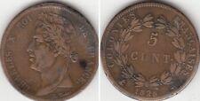 Monnaie 5 Centimes en bronze des Colonies Française Charles X 1828 A