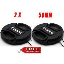 2 Pack Canon 58mm Lens Cap Cover for Canon 77D 700D 650D 100D 18-55 50 1.4 58mm