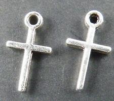 100pcs Tibetan Silver Little Cross Charms 13x7mm 12863