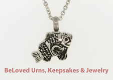 "Detailed Fish Cremation Jewelry Keepsake Pendant Urn With 20"" Necklace & Funnel"
