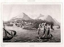 Cagliari: Panorama dal mare. Sardegna.Acciaio. Stampa Antica + Passepartout.1838
