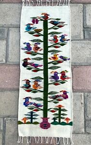 """Zapotec Oaxacan 15x40"""" Hand Woven White Tree of Life Weaving Tapestry Rug Runner"""