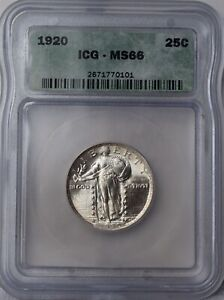 """1920 Standing Liberty Quarter """"ICG MS66"""" *Free S/H After 1st Item*"""