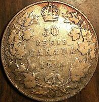 1916 CANADA SILVER 50 CENTS COIN