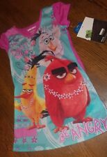 "Girls Sz 7/8 ANGRY BIRDS Nightie Nightshirt ""Don't Worry be Angry"" nwt Pink"