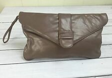 Vintage Tan Taupe Oversized Clutch Purse Hand Bag Almondo Originals 80s Roomy