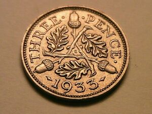 1933 Great Britain Threepence Nice Ch BU Uncirculated Original Silver 3P UK Coin