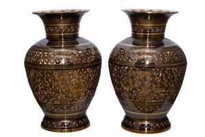 Decorative Vintage Antique Round Style Handcrafted Flower Brass Pot Handmade.