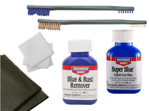 """Gun Blueing Kit Blue and Rust Remover Super Blue Two Brushes 3"""" Patches & Pads"""