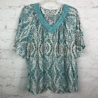 Catherines Top Womens 3X V-neck teal blue paisley blouse peasant boho 26W/28W