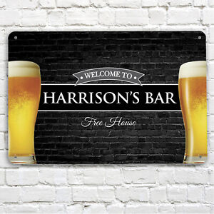 Personalised Bar Sign - Home bar Brick Pints Glass - Metal Beer A4 Bar Sign Pub