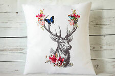 """Floral Deer - 16"""" cushion cover rustic shabby vintage chic - UK handmade"""