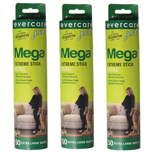 evercare Pet Mega Extreme Surface Coverage 50 Layer Lint Roller Refill, 3 Pack