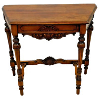 Vintage Italian Country Console side sofa table Solid Walnut Carved Fluted Legs