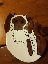 """New listing Cats By Nina Lyman Blue Eyed Siamese 5"""" White Brown Ceramic Soap Dish Spoon Rest"""