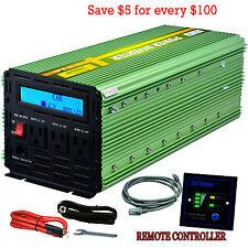 EDECOA 3000W 6000 12V dc to 110V 120V ac automotive Power Inverter LCD 3 outlets